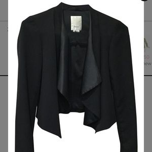 Anthropologie Black Elevenses Crop Open Tux Blazer
